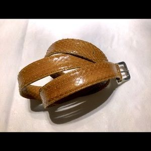 Vintage Real Snake Skin Leather Belt Natural Tan L